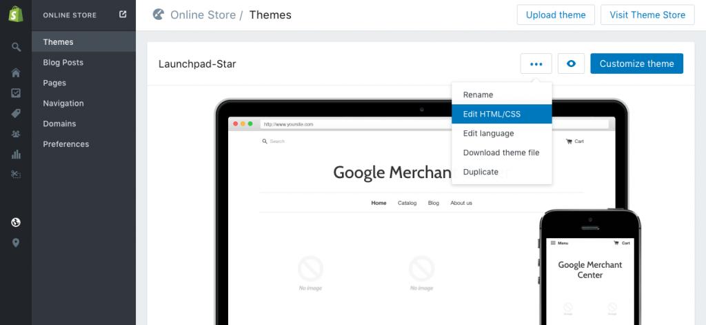 Shopify Theme Editor Menu