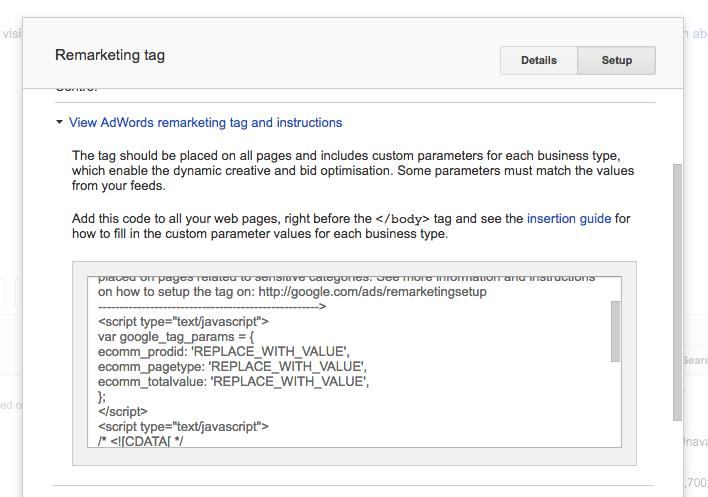 Google Remarketing Tag Checkout
