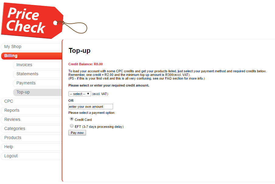 Top up screen on admin